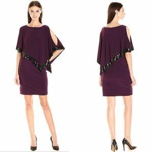 Adrianna Papell EMBELLISHED TRIM CAPE DRESS